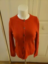 100%  Pure Cashmere  Women's  Cardigan Made in Scotland Orange Size Small