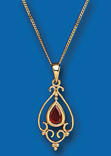 Garnet Pendant Garnet Necklace Yellow gold Garnet Pendant Victorian Design