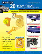 SIMPLETOW 20 FT TOW STRAP WITH TOW COUPLING & STORAGE BAG NEW YELLOW 12000 LB