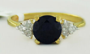 GENUINE 1.18 BLUE SAPPHIRE & DIAMONDS RING 10K GOLD * Free Certificate Appraisal