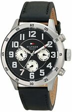 New Tommy Hilfiger Men MultiFunction Black Leather Dress Watch 46mm 1791050 $145