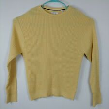 ALEX CANNON Men Cable Knit Crew Neck Sweater Size XL yellow Long Sleeves cotton