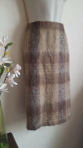 Fluffy Vintage Pencil Skirt Size 12 Scottish Wool Mohair Plaid Check Rannoch Des