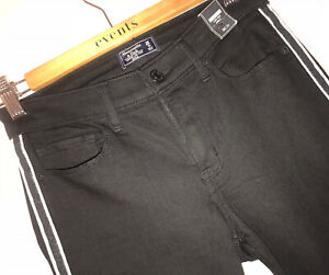 26 MAISON SODA $260 Black Low Rise LR Harper Ankle Raw Cuff Chinos Pants Jeans