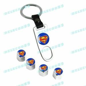 New For Superman Car Wheel Tire Valves Dust Stem Air Caps Keychain Emblem Set