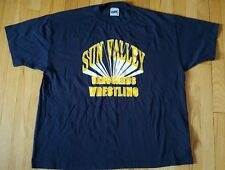 Vintage 80s SUN VALLEY VANGUARDS wrestling t shirt XXL 50/50 navy blue 2XL Bike