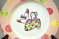 """Rosanna Pink High Heel Sandals Shoes & Purse 8.5"""" Dessert Plate Peach Polka Dot"""
