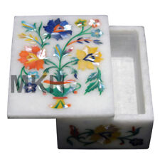 Jewelry Box Marble Inlay Stone Boxes Pietra Dura Trivet Scagliola Art Vintage