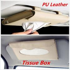 Beige Car Tissue Holder PU Leather Box Sun Visor Hanging Clips Auto Accessories
