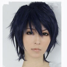 Hot For Cosplay Ao no Exorcist Okumura Rin Dark Blue Mix Black Wig+Wig Net Cap