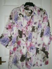 SPIRITO all-LINEN white SHIRT/top SIZE 22 PINK/brown/lilac BIG FLOWERS cool FAB