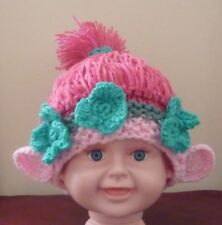 GIRL TROLL HAT; Pink; Hand Knit & Crochet; MADE TO ORDER; 6-12 months size