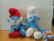 2 plush Smurfs, 1 Papa Smurf and 1 Regular smurf
