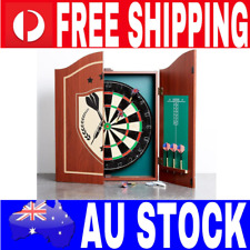 Dartboard in Wooden Cabinet With Score Board and Game Darts Pub Style Dart Set