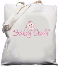 Baby Stuff - Natural (Cream) Cotton Shoulder Bag - Pink - Baby Shower Gift