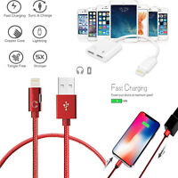 3 in1 Heavy Duty Braided Lightning Charging Audio Cable For iPhone 7 8 X iPadAir