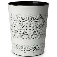 Floral Waste Bin Paper Dust Modern Plastic Office Rubbish Bathroom Kitchen White