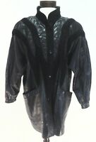 NORMA CANADA Jacket 80'S Long Coat Black Leather/Suede Womens Vintage Trench M