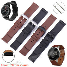 22mm 20mm 18mm Genuine Leather Band Watch Strap Wristband Belt+Quick Spring Bars