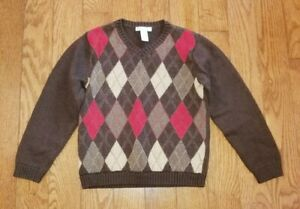 JANIE And JACK Boy's Brown Argyle Sweater Sz 7 Thanksgiving Holiday