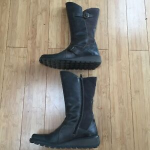 Fly London Mes Low Wedge Calf Boots Leather/Suede - Diesel - Size 6