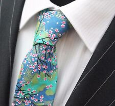 Corbata de lazo Entallada Azul Místico Floral Algodón De Calidad T6204