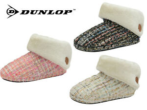 Ladies Slippers Ankle Boots Winter Warm Cosy Padded Fur Outdoor Sole Booties