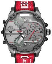 Diesel Mr Daddy 2.0 Chronograph Gunmetal Grey Red Silicone Men's Watch DZ7423