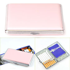 Women's Pink Thin Slim Faux Leather Wiredrawing 14 Cigarettes Holder Case Box