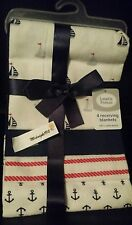 NEW 4 PACK LUVABLE FRIENDS BABY BOY'S ANCHOR SAILOR RECEIVING BLANKETS