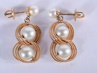 A stunning and unique PAIR OF VINTAGE 9 CT GOLD AND PEARL EARRINGS.