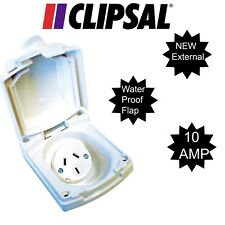 CLIPSAL (NEW) WHITE EXTERNAL 10 AMP POWER OUTLET - RV, CARAVAN, ELECTRICAL