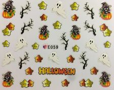 Nail Art 3D Decal Stickers Halloween Ghost Black Cat in Pumpkin Stars E059