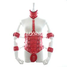 BDSM Play PU Leather Full Body Bondage Harness Restraint Corset Collar Bust Cuff