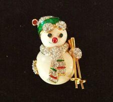 Signed Swarovski Gold Plated Snowman Skier Brooch Pin