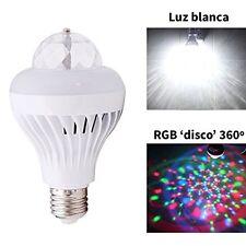 Bombilla LED luz blanca + RGB con giro luz 360º 'modo discoteca' 3W E27