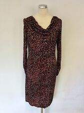 GHOST BLACK,RED,WHITE & BEIGE PRINT LONG SLEEVE COWL NECK DRESS SIZE 14