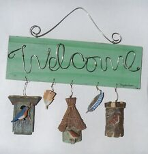 "Marjolein Bastin Welcome Hanging Sign Hallmark Birdhouses Birds Feathers 11"""