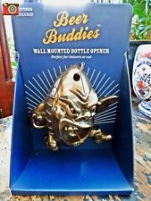 A BEER BUDDIES RUGBY BALL WALL MOUNTED BOTTLE OPENER GOLD/BRONZE FINISH