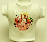Shopkins Theme Silver Glitter Transfer T-Shirt For 16 or 18 Inch Dolls