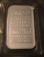 1 oz Johnson Matthey Silver Bar .999 Fine Silver in sealed plastic
