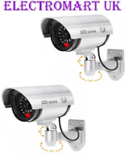 2 X DUMMY FAKE SECURITY CCTV CAMERAS INFRA-RED RED FLASHING LED INDOOR OUTDOOR