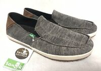 SANUK CASA Vintage Black BOAT CANVAS SHOES MENS slip on loafer Shoe SMF11011 NEW