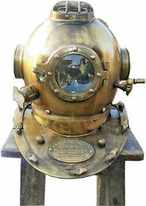 "Antique Diving Marine Helmet US Navy Mark V Deep Sea Divers Boston Helmet 18"""