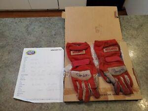 RARE Race Track Worn Gloves of NASCAR Driver BOBBY HILLIN JR Signed with Letter