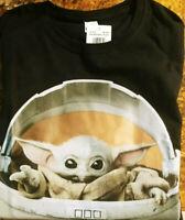 Star Wars The Mandalorian, The Child, Baby Yoda Black T- Shirt. Size: Small