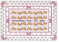 ~ Baby Girl Frames Borders Rubber Duckie Pink Bows NRN Design Stickers ~