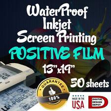 "WATERPROOF Inkjet Transparency Film for Screen Printing 13""x19"" 50 sheets"