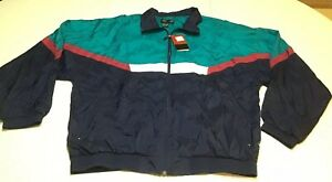 PIERRE CARDIN Men's Nylon Jacket Windbreaker Color Block Vintage 90s Sz XL NWT