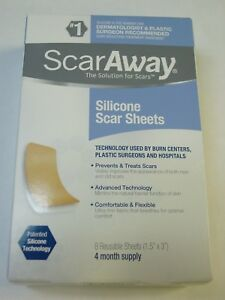 """ScarAway Silicone Scar Sheets (1.5"""" x 3"""") 8 Sheets NEW Exp 01/2023"""
